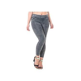 Vita alta termica Jeans Jeggings Skinny Slim Fit Denim Look senza giunte calda fodera in pile nero pantaloni