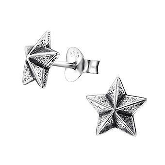 Star - 925 Sterling Silver Plain Ear Studs - W28262x