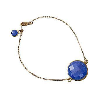 Gemshine - donna - Bracciale - placcato oro - zaffiro - blu - sfaccettato - 19 cm