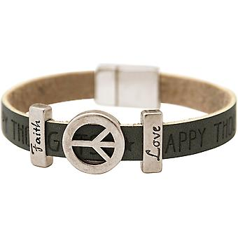 Gemshine - Damen - Armband - Frieden - Peace - WISHES - Grau - Anthrazit - Magnetverschluss - Faith - Love