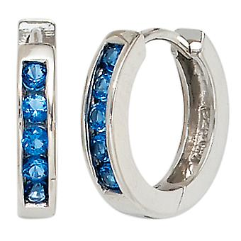 Colored hoop earrings 925 sterling silver rhodium plated 10 cubic zirconia blue earrings