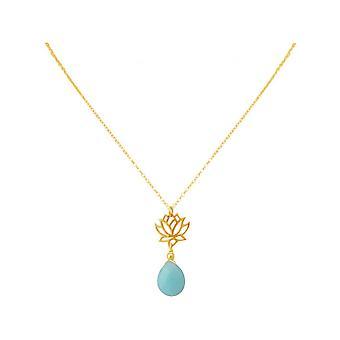 Ladies - necklace - pendant - 925 Silver - gold plated - Lotus Flower - mandala - turquoise - drops - blue - YOGA - 45 cm