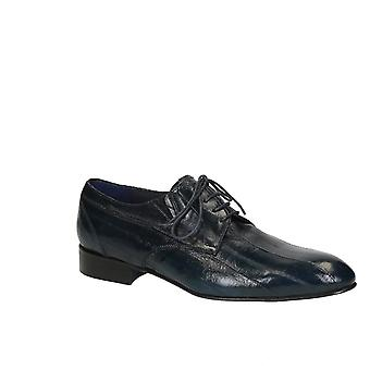 Men's dress shoes in blue eel skin leather