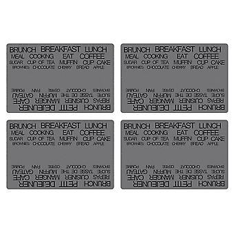 Galzone Set of 4 Placemats Grey Text