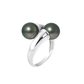 Ring Double 8 mm pearls and Silver 925/1000