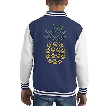 Dog Paw Pineapple Kid's Varsity Jacket