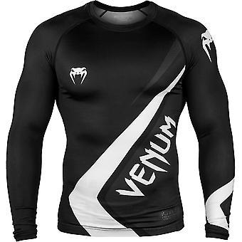 Venum Contender 4.0 Long Sleeve MMA Compression Rashguard - Black/Gray/White