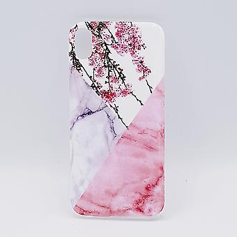 iPhone XR-bolsa-triángulo mármol flores de color rosa