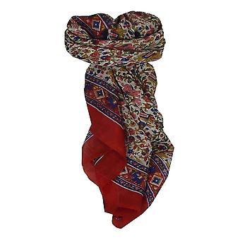 Шелковица шелка традиционными квадратный шарф Jaipur красный пашмины & шелка