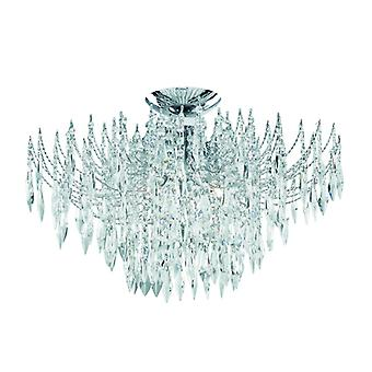 Cascata - 4 luce soffitto S e irrigare, Chrome, Crystal Clear