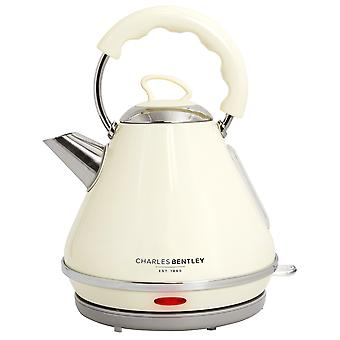 Charles Bentley Cordless Cream Pyramid Kettle 3000W 1.7 Litre Stainless Steel Fast Boil 360 Degree Base - Free 2 Year Guarantee