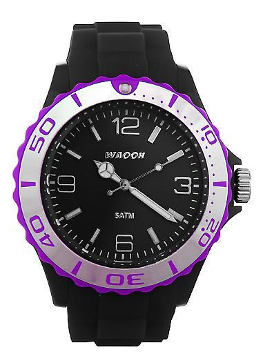 Waooh - MC42 Black Bezel Watch Silver Color
