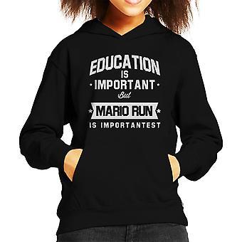 Education Is Important But Mario Run Is Importantest Kid's Hooded Sweatshirt