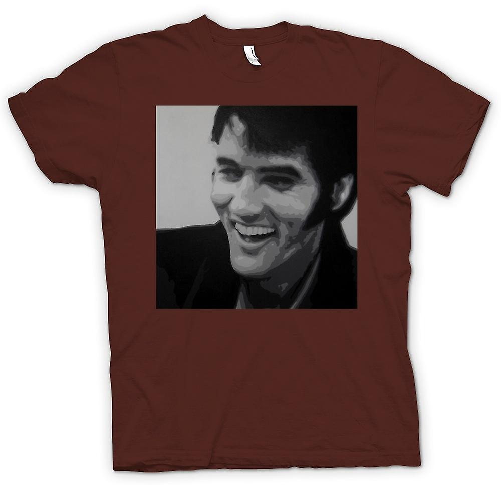 Mens T-shirt-Elvis Presley - BW - Pop-Art lächelnd