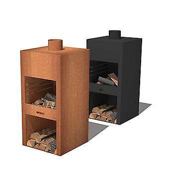 Burni Stig tuinhaard cortenstaal 50x50x100 cm - zwart