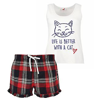 Life Is Better With A Cat Ladies Tartan Frill Short Pyjama Set Red Blue or Green Blue