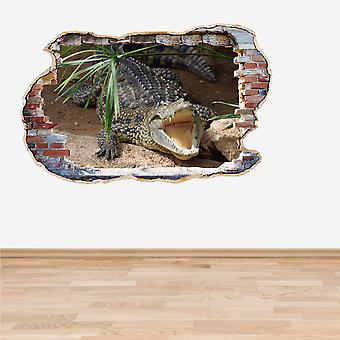 Full Colour Crocodile Snapping Wall 3D Effect Wall Sticker