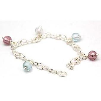 Toc Sterling Silver Large Belcher Bracelet With Murano Glass Beads