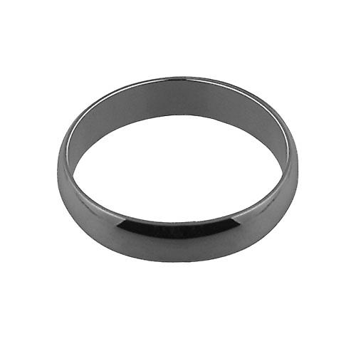 18ct white gold plain D shaped wedding ring 5mm wide