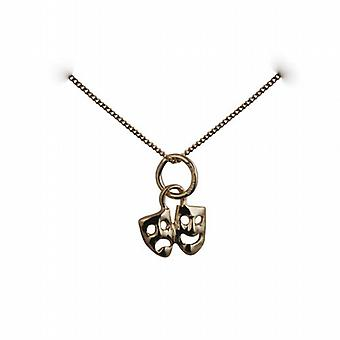 9ct Gold 8x10mm Theatrical Comedy and Tragedy Pendant with a curb Chain 16 inches Only Suitable for Children