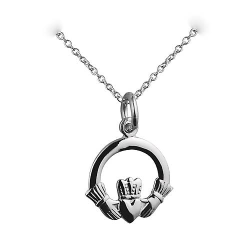 Silver 15mm Claddagh Pendant with a rolo Chain 16 inches Only Suitable for Children