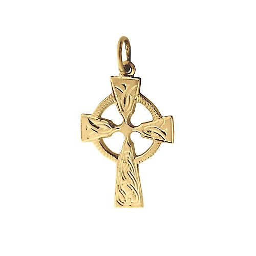 9ct Gold 23x16mm hand engraved knot pattern Celtic Cross