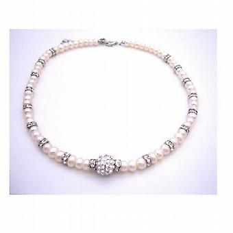 Mother of Bride Groom Gift Freshwater Pearls w/ Rondells Silver Plated
