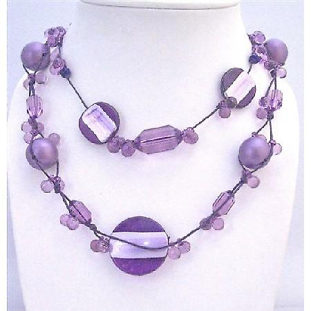 Multi Shaped & Sizes Beads Necklace Purple Pearls Acrylic Beads