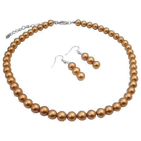 Golden Color Pearls Wedding Bridal Necklace & Earrings Jewelry Set
