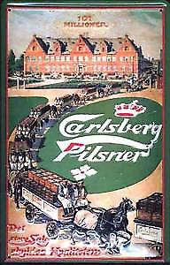 Carlsberg Horses and Drays embossed metal sign