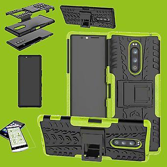 Für Sony Xperia 1 6.5 Zoll Hybrid Case 2teilig Grün Tasche Hülle + Hartglas Etuis