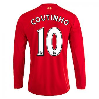 2015-16 Liverpool Home Long Sleeve Shirt (Coutinho 10) - Kids
