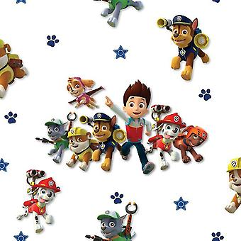 Paw Patrol Wallpaper Kids Childrens Bedroom White Multi Coloured