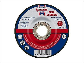 Faithfull Grinding Disc for Metal Depressed Centre 115 x 6.5 x 22mm