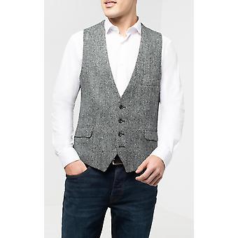Harris Tweed zwart & grijs vest normale pasvorm 100% wol laag uitgesneden Graatvormige