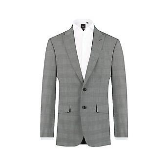 Dobell Mens zwart-wit pak jasje Slim Fit piek revers Prins van Wales Check
