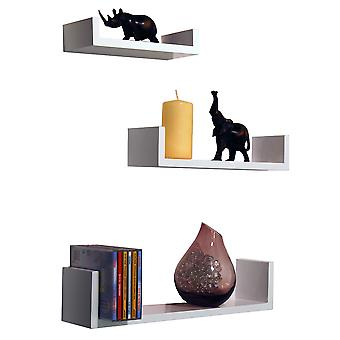 Melody - Wall Mounted Floating Gloss Display Storage Shelves - Set Of 3 - White