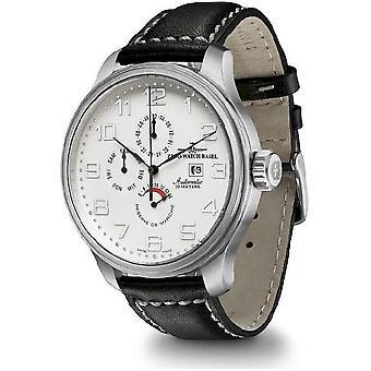 Zeno-watch mens watch OS rétro power réserve double fuseau, 8075-e2