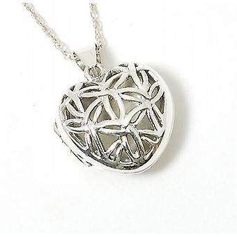 Toc Sterling Silver Puffed Filigree Heart Locket Pendant on 18 Inch Chain