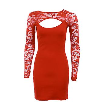 New Ladies Cut Out Front Long Sleeve Lace Front Back Bodycon Women's Dress