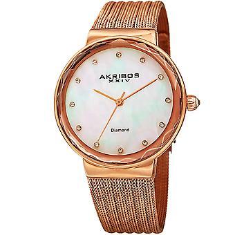 Akribos XXIV Women's Mother-of-Pearl Dial on Mesh Bracelet Watch AK1009RG