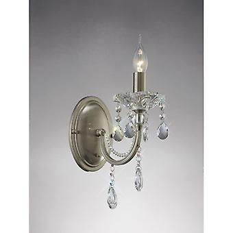 Leana Wandleuchte Switched 1 Light Satin Nickel/Kristall