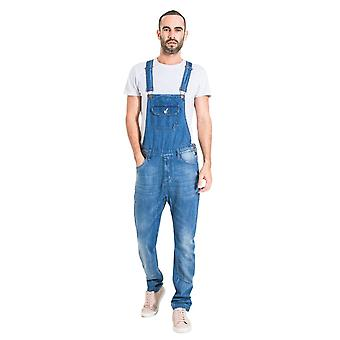 Mens organic denim slim fit dungarees light wash