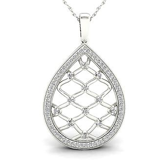 IGI Certified 10K White Gold 0.25ct TDW Diamond Drop Filigree Fashion Necklace
