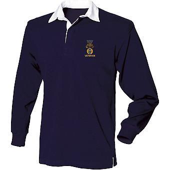 Royal Irish Fusliers veterano-licenciado British Army bordado camisa de manga comprida Rugby