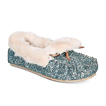 INC International Concepts Womens Yeldie Sparkly Faux Fur Slippers (Seafoam, 6)