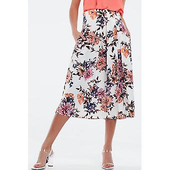 Cream floral skirt with box pleats