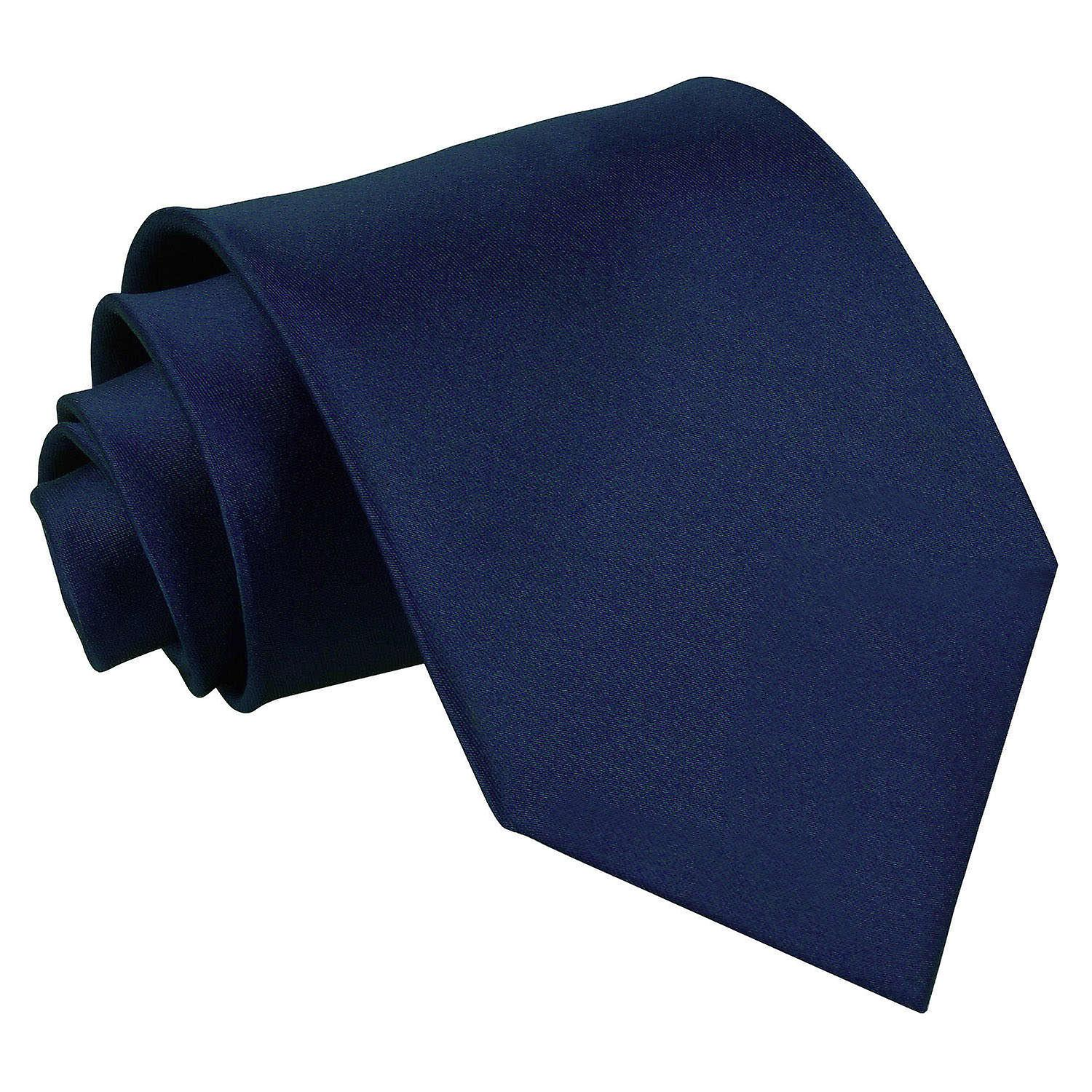 Plain Navy Blue Satin Tie