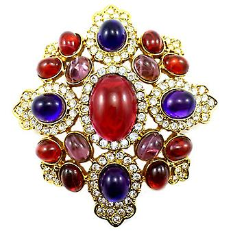 Kenneth Jay Lane Large Ruby & Amethyst Crystal Shield Brooch Pendant