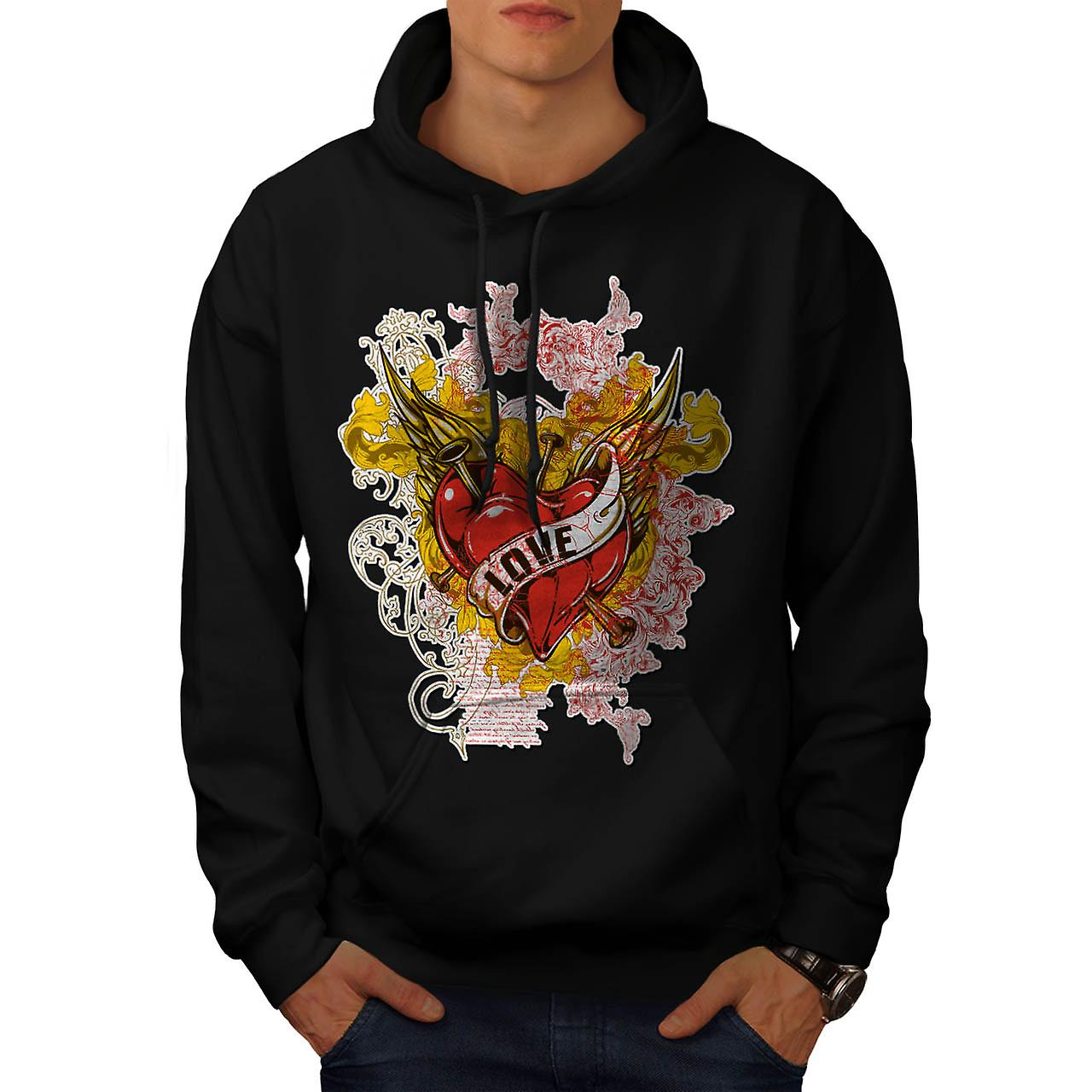 Love Rose Heart Valentine Men Black Hoodie | Wellcoda